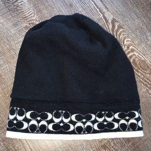 Black and cream Coach beanie hat
